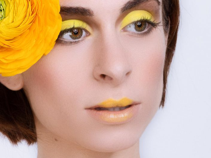 shooting beaute close up maquillage jaune