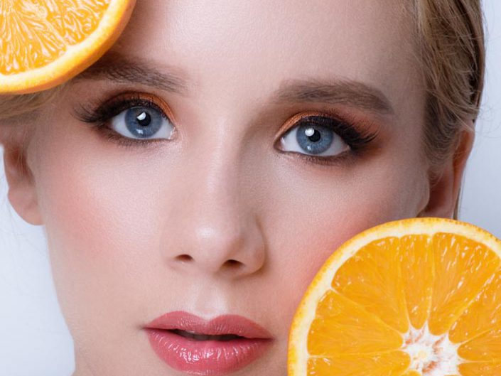photo beaute avec une orange
